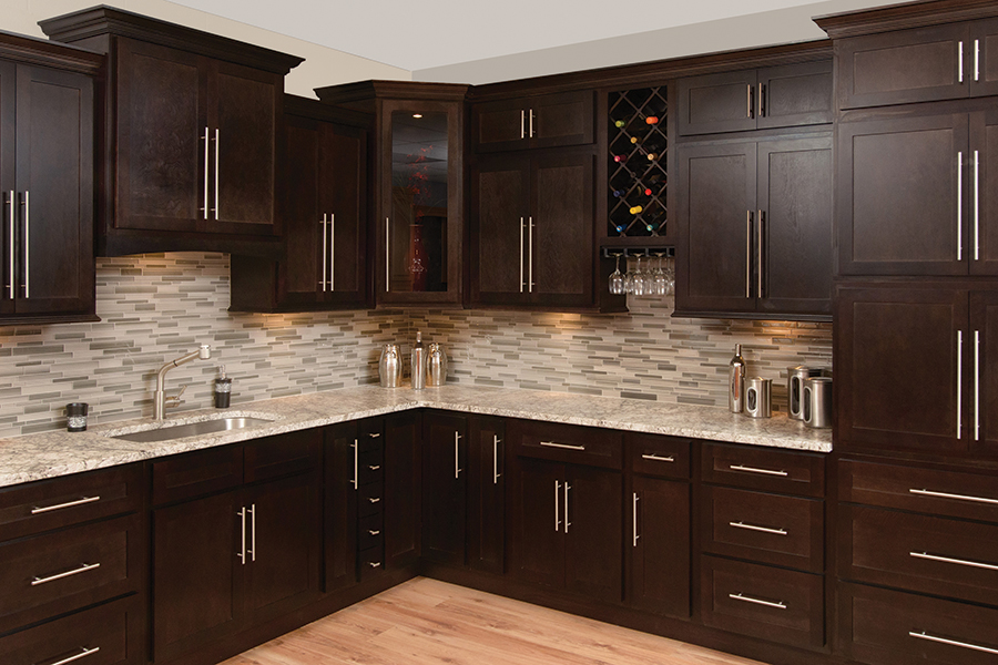 kitchen backsplash ideas with wood cabinets with Espresso Shaker on Kitchen Wall Tiles besides Is Black The New White In Kitchens also Sophisticated And Modern White Subway Tile in addition 19 Beautiful Showcases Of U Shaped Kitchen Designs For Small Homes together with Mediterranean Kitchens.